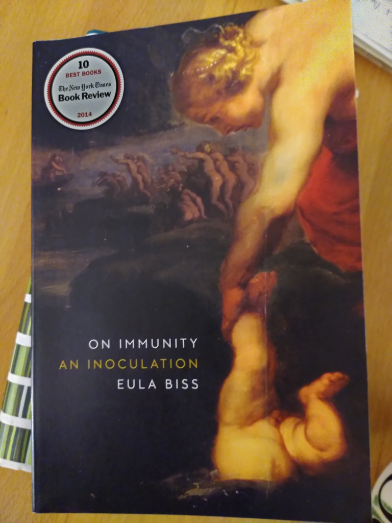 Book cover of On Immunity: An Inoculation by Eula Biss features a Reubens painting, Achilles Dipped In The River Styx. Baby being held by one leg and dipped in river up to navel.